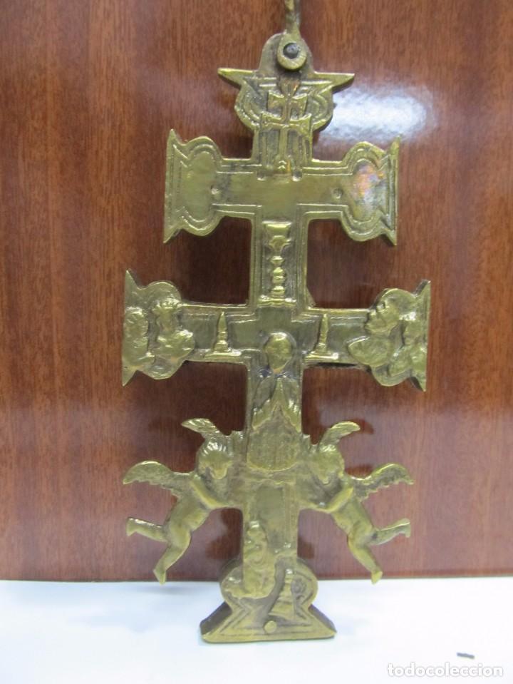 Antigüedades: CRUZ DE CARAVACA GRANDE DE BRONCE - Foto 5 - 158639804