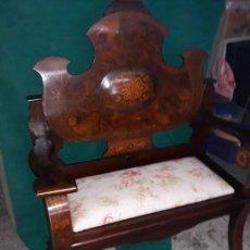 Antigüedades: GRAN SILLÓN DE ESTRADA MARQUETERIA. Lote 129583267