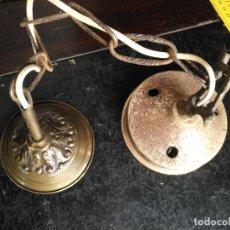 Antigüedades: APLIQUE TERMINACION DE TECHO PARA LAMPARA Y CASQUILLO CON CADENA VER FOTOS . Lote 129587839