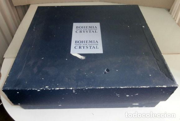 Antigüedades: JUEGO DE LICORERA MAS 6 COPAS CRISTAL BOHEMIA CAJA ORIGINAL A ESTRENAR - Foto 6 - 129672111