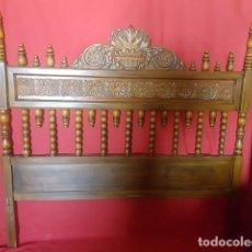Antigüedades: CAMA DE MATRIMONIO EN MADERA TALLADA.. Lote 129698451