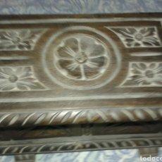 Antigüedades: ANTIGUO COFRE MADERA TALLADA. Lote 129730462