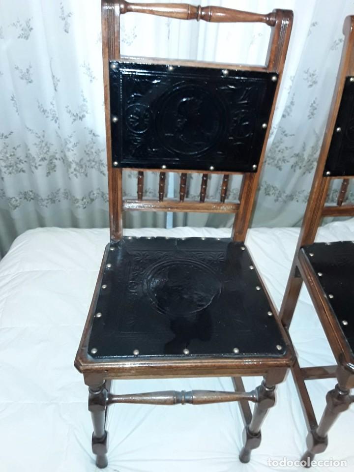 Antigüedades: Sillas antiguas. Respaldos y asientos repujados - Foto 2 - 129735675