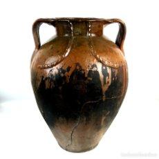 Antigüedades: JARRÓN RÚSTICO. BARRO ESMALTADO. CATALUÑA. SIGLO XIX.. Lote 129962623