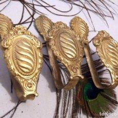 Antigüedades: ALZAPAÑOS, SOSTENEDOR CORTINAS, CONJUNTO 3 SUJETA CORTINAS. Lote 129996855
