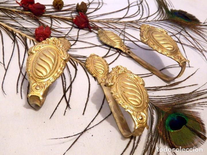 Antigüedades: Alzapaños, Sostenedor Cortinas, Conjunto 3 Sujeta Cortinas - Foto 7 - 129996855