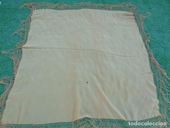 Antigüedades: Bonito Mantón de Manila de color marron claro - Foto 2 - 130006995