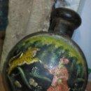 Antigüedades: CAZA DE TIGRE VASIJA O BOTELLA ORIENTAL HIERRO MUY ANTIGUA PINTURA ORIGINAL. Lote 130026139