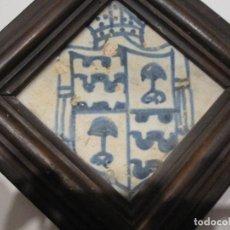 Antigüedades: ESCUDO DEL OBISPO DE SEGORBE BARTOMEU MARTÍ (1474-1498) AZULEJO DE MANISES DEL SIGLO XV. Lote 134180014