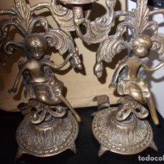 Antigüedades: CANDELABROS DE BRONCE. Lote 130033363