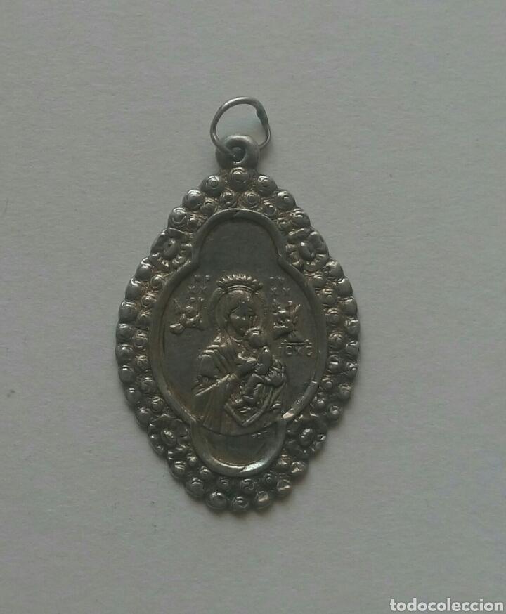 Antigüedades: Bonita medalla nuestra señora del perpetuo socorro plata / 20 x 31 cm - Foto 3 - 130035062