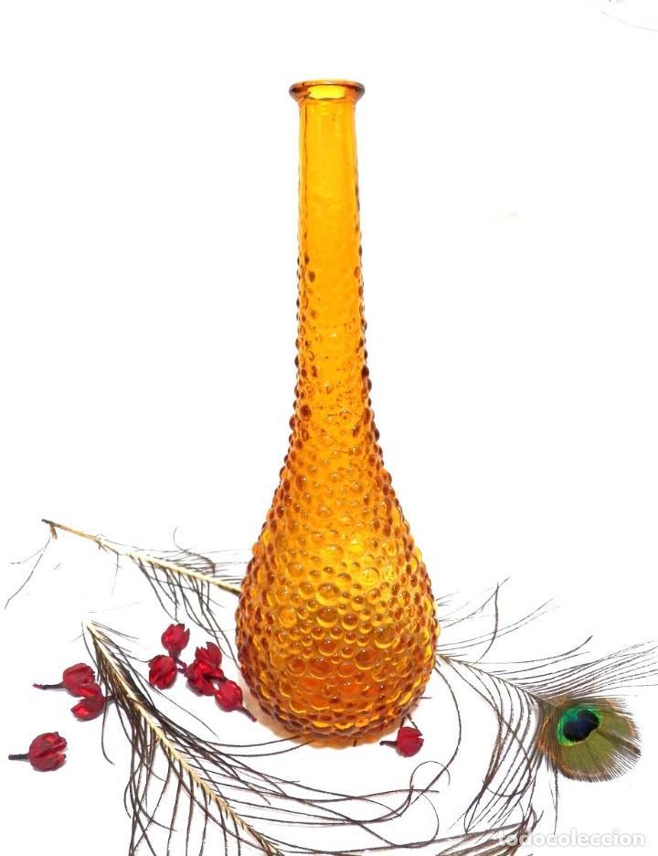 Antigüedades: Botella Empoli, Botella Cristal Burbujas, Botella Ámbar, Botella Italia Vidrio Soplado - Foto 2 - 130035131
