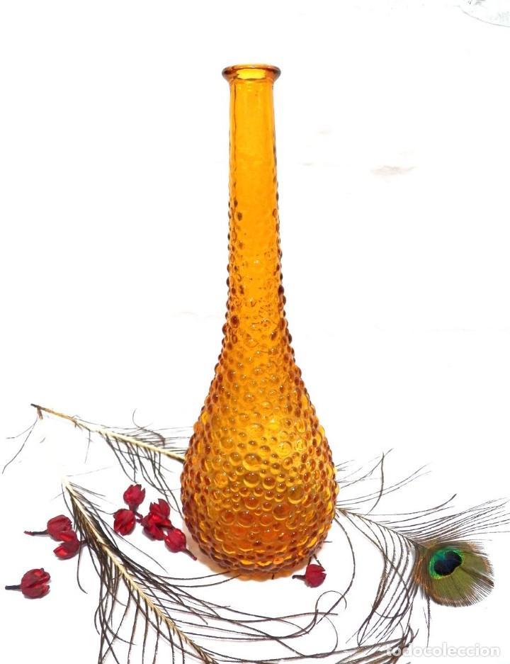 Antigüedades: Botella Empoli, Botella Cristal Burbujas, Botella Ámbar, Botella Italia Vidrio Soplado - Foto 3 - 130035131