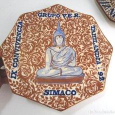 Antigüedades: PLATO CERAMICA REFLEJOS MANISES OCTOGONAL CONVIVENCIAS GRUPO VER SIMACO THAILANDIA , GIMENO RIOS. Lote 130114707