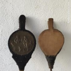 Antigüedades: FUELLE O SOPLADOR DE CHIMENEA 1900,S. LOTE DE DOS.. Lote 130120419