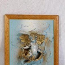 Antigüedades: CUADRO ANGEL, ANGELOTE, QUERUBIN EN RESINA . Lote 130193995