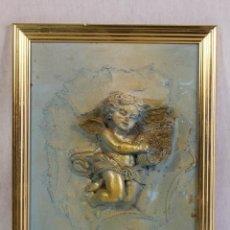 Antigüedades: CUADRO ANGEL, ANGELOTE, QUERUBIN EN RESINA . Lote 130194087