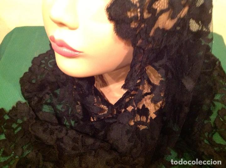 Antigüedades: Mantilla Velo Blonda Encaje Negro Tres Picos S.XIX Medidas 160X68CM - Foto 3 - 130198039