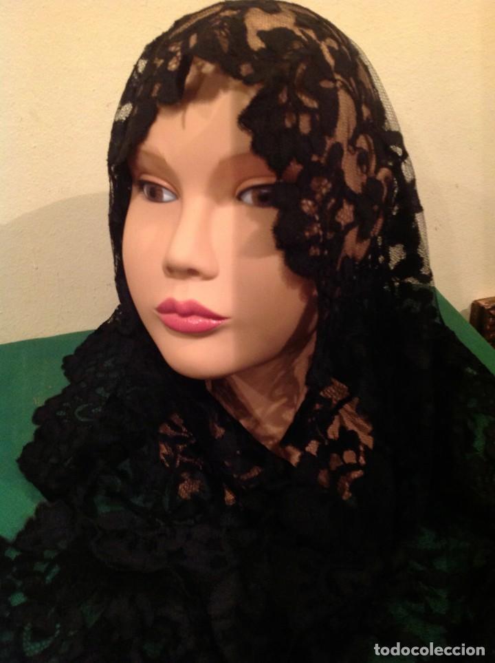 Antigüedades: Mantilla Velo Blonda Encaje Negro Tres Picos S.XIX Medidas 160X68CM - Foto 4 - 130198039