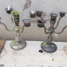 Antigüedades: CANDELABROS DE ALPACA. Lote 130235035