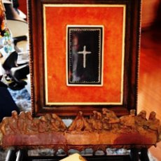 Antigüedades: TRES PIEZAS RELIGIOSAS ANTIGUAS - LIBRO ART DECO COMUNIÓN - CUADRO Y ULTIMA CENA COLONIAL - NACAR. Lote 54531377