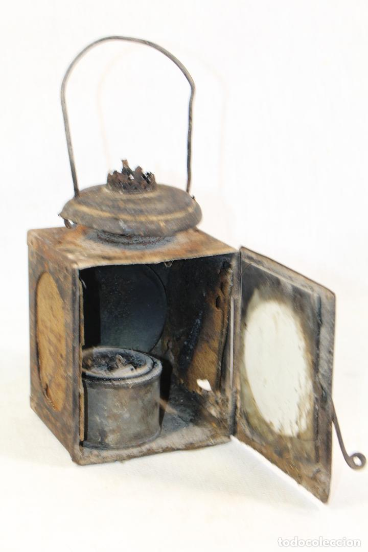 Antigüedades: ANTIGUO FAROL DE RENFE - PARA FERROCARRIL, TREN, GUARDAVIAS ETC. COMPLETAMENTE ORIGINAL - Foto 3 - 130257058