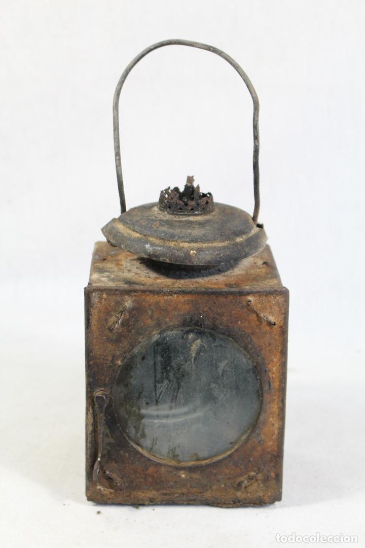 Antigüedades: ANTIGUO FAROL DE RENFE - PARA FERROCARRIL, TREN, GUARDAVIAS ETC. COMPLETAMENTE ORIGINAL - Foto 9 - 130257058