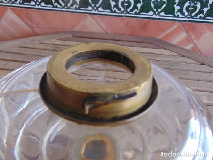 Antigüedades: MUY ANTIGUO QUINQUE QUINQUES EN FORMA EN METAL PINTADO Y CHIMENEA ,TULIPA EN CRISTAL HINK & SONS - Foto 31 - 130321762