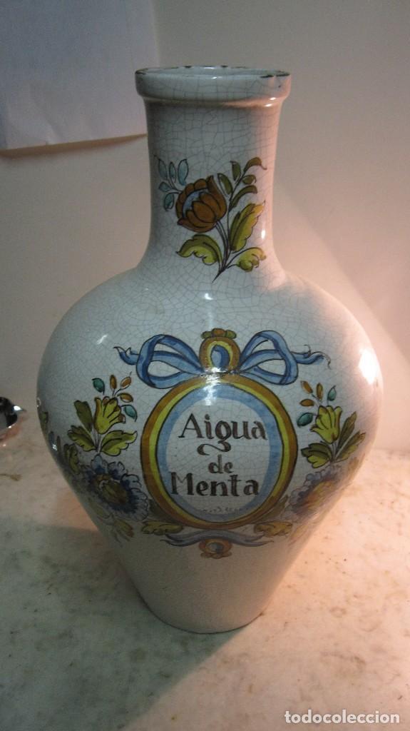 VIEJO JARRÓN DE AGUA DE MENTA DE CERÁMICA LEVANTINA PINTADO A MANO (Antigüedades - Porcelanas y Cerámicas - Manises)