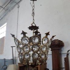 Antigüedades: LÁMPARA DE CRISTALES. Lote 130334432
