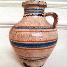 Antigüedades: MUY BONITO CANTARO EN CERAMICA DE PUENTE DEL ARZOBISPO,(TOLEDO),S. XIX. Lote 130340110