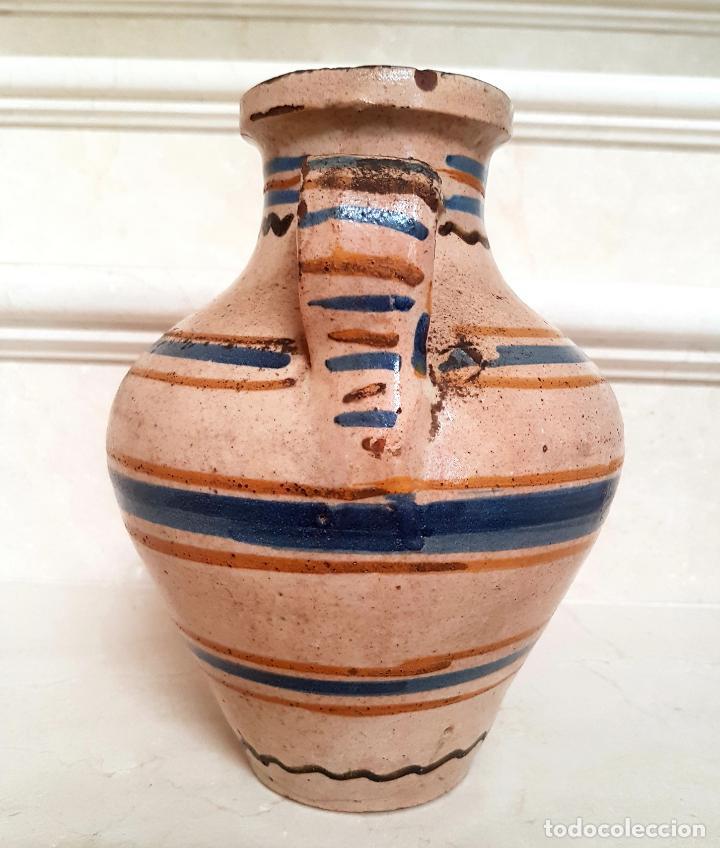 Antigüedades: MUY BONITO CANTARO EN CERAMICA DE PUENTE DEL ARZOBISPO,(TOLEDO),S. XIX - Foto 2 - 130340110