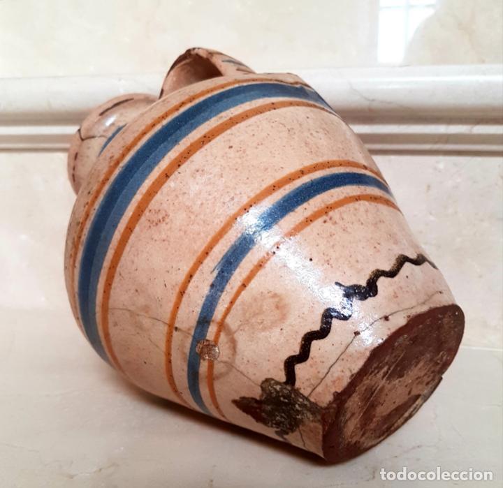 Antigüedades: MUY BONITO CANTARO EN CERAMICA DE PUENTE DEL ARZOBISPO,(TOLEDO),S. XIX - Foto 4 - 130340110