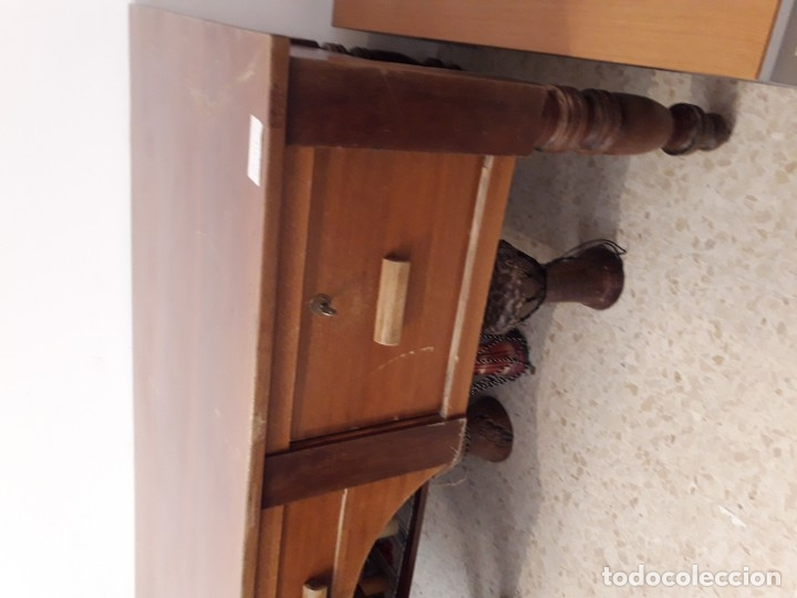 Antigüedades: Mesa escritorio Hotel Alfonso XII Sevilla de madera maciza. - Foto 4 - 110279171