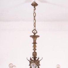 Antigüedades: LÁMPARA ANTIGUA DE TECHO EN BRONCE Y CRISTAL. Lote 130417502