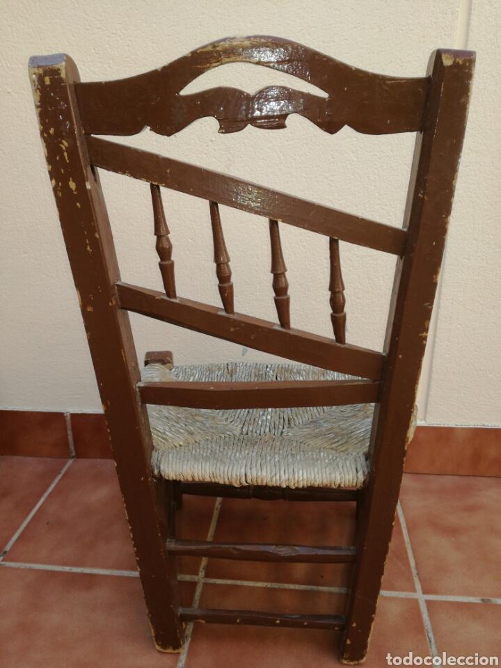Antigüedades: Antigua silla de enea baja - Foto 3 - 130437618