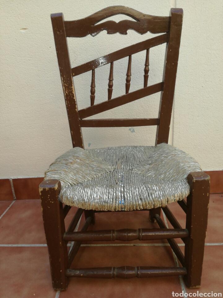Antigüedades: Antigua silla de enea baja - Foto 5 - 130437618