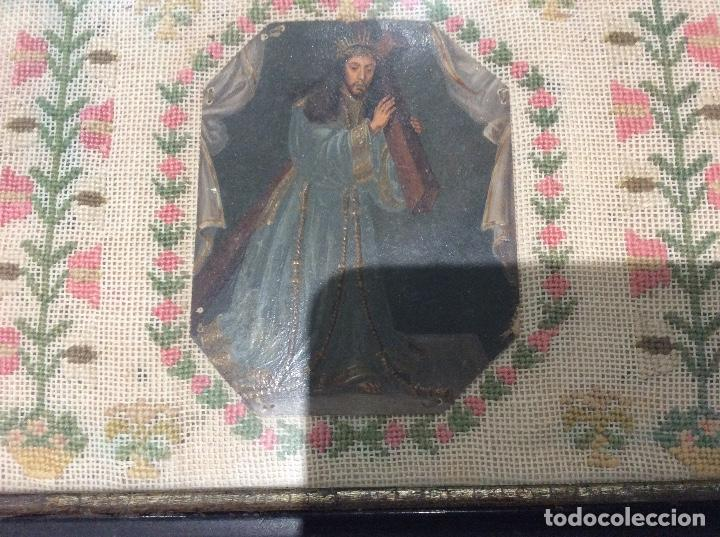 Antigüedades: Bordado circa 1800 con Marco original. Por detrás cartón pintado por la bordadora - Foto 2 - 130450918