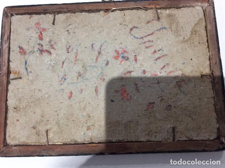 Antigüedades: Bordado circa 1800 con Marco original. Por detrás cartón pintado por la bordadora - Foto 4 - 130450918