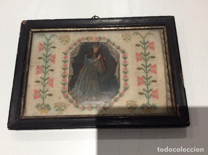 Antigüedades: Bordado circa 1800 con Marco original. Por detrás cartón pintado por la bordadora - Foto 6 - 130450918