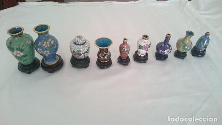 Antigüedades: Miniaturas jarrones y tibores chinos de porcelana pintada a mano.de colección - Foto 2 - 130453598