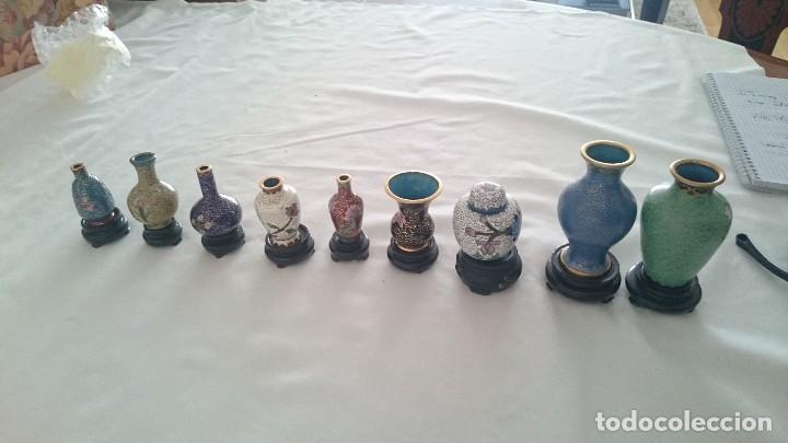 Antigüedades: Miniaturas jarrones y tibores chinos de porcelana pintada a mano.de colección - Foto 4 - 130453598