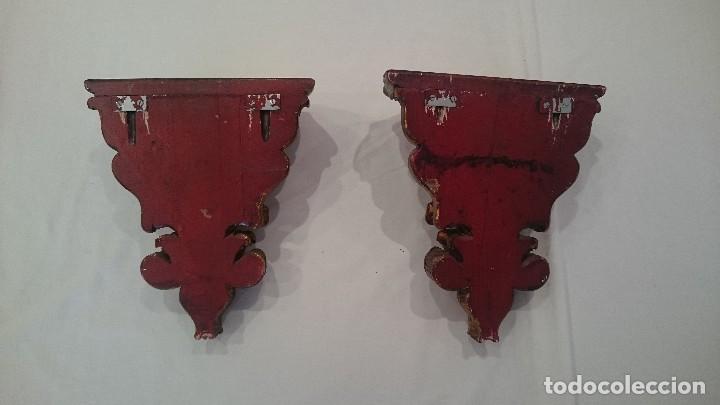 Antigüedades: Antiguas peanas, ménsulas de madera talladas de principios del siglo XX. - Foto 2 - 130453622
