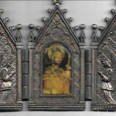 Antigüedades: PEQUEÑA CAPILLA DE MESA PLATEADA DE SANTIAGO APOSTOL DIMENSIONES 11 X 10 CM. Lote 130473594