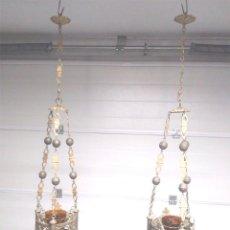 Antigüedades: PAREJA LAMPARAS VOTIVAS S XIX, BRONCE, COMPLETAS TODO DE ORIGEN. MED. 130 CM. Lote 130552846