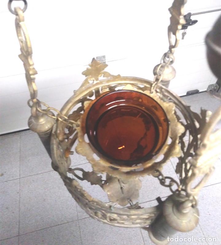 Antigüedades: Pareja lamparas Votivas S XIX, bronce, completas todo de origen. Med. 130 cm - Foto 3 - 130552846