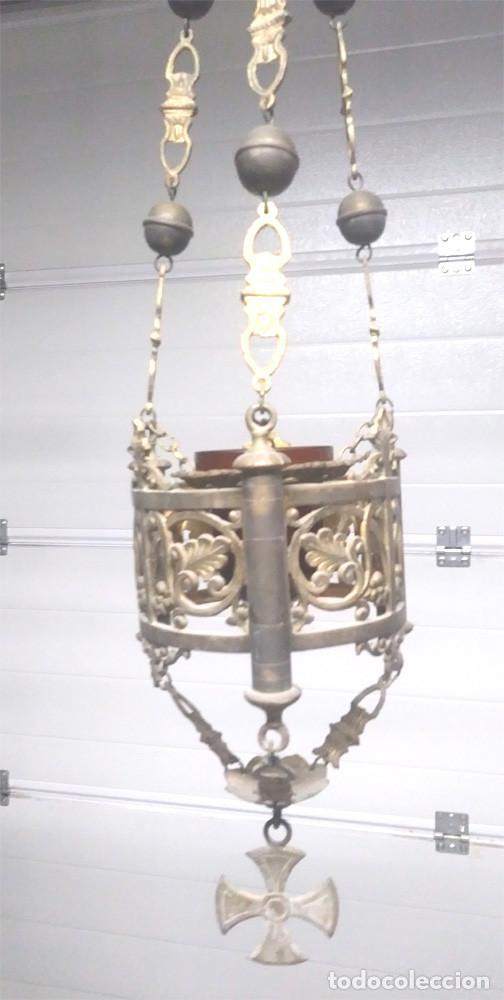 Antigüedades: Pareja lamparas Votivas S XIX, bronce, completas todo de origen. Med. 130 cm - Foto 4 - 130552846