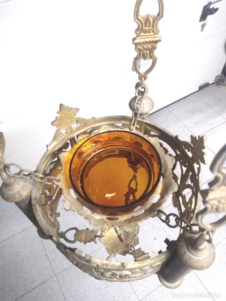 Antigüedades: Pareja lamparas Votivas S XIX, bronce, completas todo de origen. Med. 130 cm - Foto 6 - 130552846