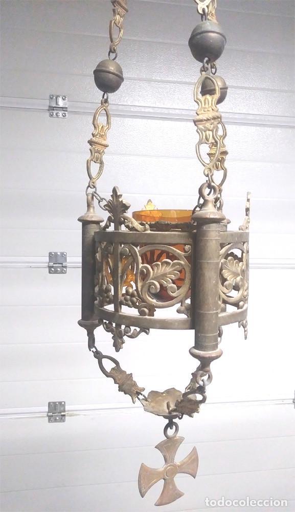 Antigüedades: Pareja lamparas Votivas S XIX, bronce, completas todo de origen. Med. 130 cm - Foto 7 - 130552846
