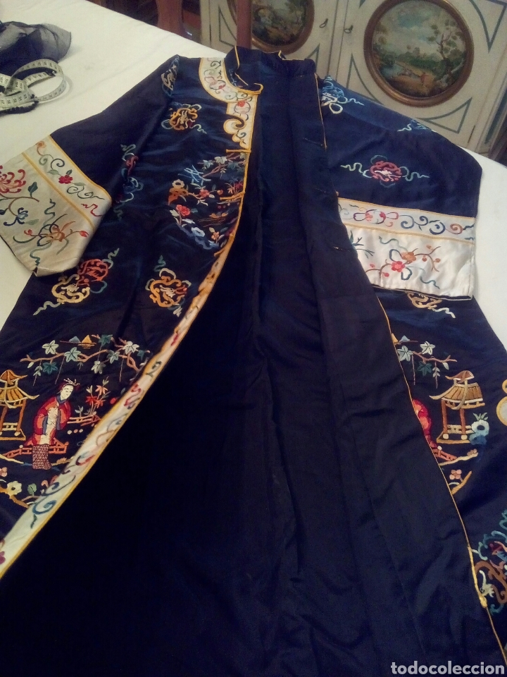 Antigüedades: Kimono bordado seda natural - Foto 4 - 107362271